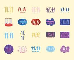 11 11 shopping day, set of sale commercial offer banners vector