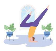 man practicing yoga pose exercises, healthy lifestyle, physical and spiritual practice vector
