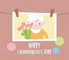 feliz día de los abuelos, foto colgante con abuela sosteniendo flores tarjeta de dibujos animados vector
