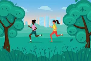 Two cute skinny girls run in the Park in the summer. vector