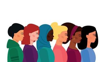 A group of girls of diverse nationalities, with different skin and hair colors. vector