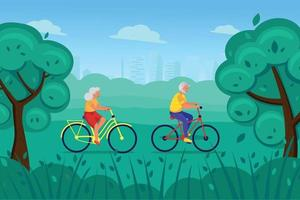 An elderly man and woman ride bicycles in the Park vector