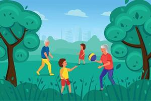 An elderly man and woman play with children in the Park. vector