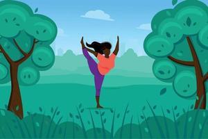 linda mujer negra hace yoga en la naturaleza, estiramientos y ejercicios físicos vector