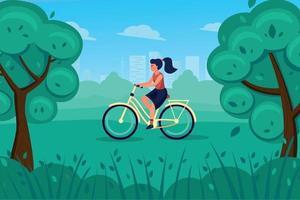 Girl on a retro bike rides through the Park. vector
