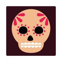 day of the dead sugar skull floral decoraiton mexican celebration icon block and flat vector