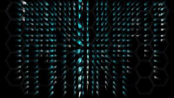 hexagon abstrakt oskärpa matris alfabetet a till z på hexagon horisontella linjen mönster animation på skärmen bakgrund video