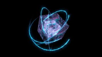 cube quantum computer abstract million particles ball big data digital technology blue magenta tone waveform and atom moving around video