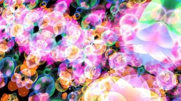 bulles arc-en-ciel dimension abstraite avec coeurs dansants flottant sur écran noir avec thème étoile blanche saint valentin et mouvement d'amour video