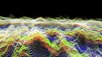 futuristisk abstrakt röd grön mörkblå vågform bolloscillation, visualisering våg teknik digital yta med partiklar stjärnor video