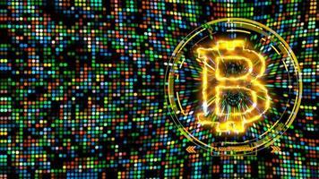 bitcoin kryptovaluta importera big data animation abstrakt regnbåge plats ljus bakgrund video