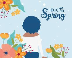 hello spring woman curly hair with flowers nature vector