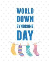 world down syndrome day hanging socks childrens on rope decoration vector
