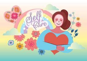 love you self self care concept artwork vector