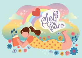 self care concept love my self concept vector