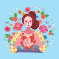 love my self self care concept vector