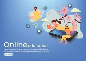learning online eaducation community online wedsite design vector