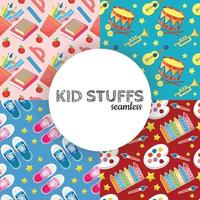kid stuff stationary for kids seamless vector