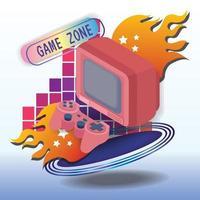 Game zone concept vector art icon