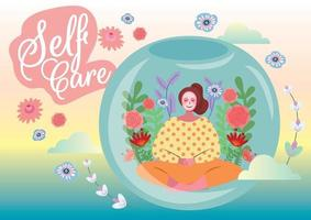self care concept love your self vector