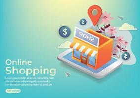 shop online shopping online red shop building for online application vector