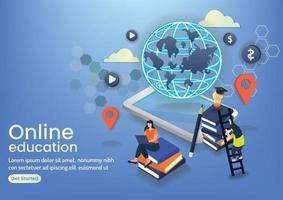 community online eaducation online wedsite design vector