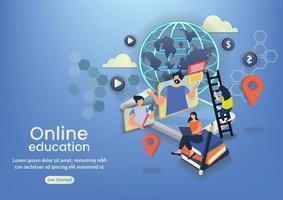 community online learning eaducation online wedsite design vector