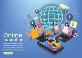online eaducation community online wedsite design vector