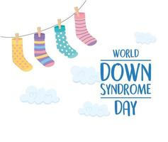 world down syndrome day, hanging socks decoration clouds background card vector