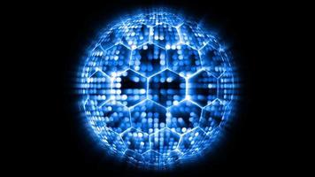 animering abstrakt blå ton ljus sfär boll visualisering våg teknik digital yta bakgrund, partiklar mönster vågform oscillation video