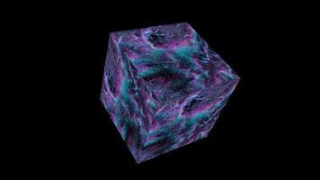 kub kvant dator abstrakt miljoner partiklar boll big data digital teknik blå magenta ton vågform video