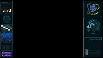 hud monitor dati di analisi digitale con quantistica e atomo, mappa del mondo e griglia di latitudine e longitudine indicatore della barra del grafico di scansione laser video
