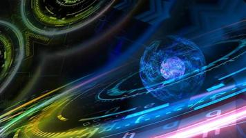 núcleo explosivo colorido abstrato e tecnologia computacional futurística quântica com modelo de matriz digital e laser video