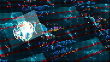 cubo computer quantistico dati tecnologia futuristica digitale luce spot colorata processo olografico e analisi per big data e sfondo poligono astratto video