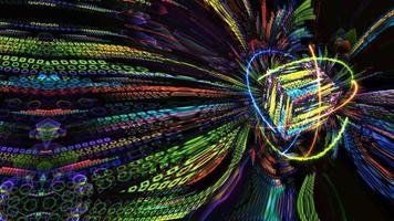 kvant magnitisk ljusblå kärna och futuristisk datoranimering abstrakt bakgrund med oändlighet av orange eldgrön natur och blå åska energi atom rör sig video