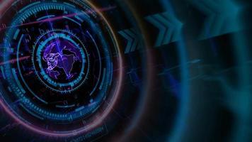 tecnologia futurística de computador quântico digital com processo holográfico digital terrestre e análise de big data e fundo de polígono de matriz video