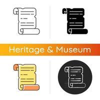 icono de manuscritos antiguos. papiro, rollo de pergamino. composición manuscrita. registros históricos. paleografía. período antiguo. Estilos lineales de color negro y rgb. ilustraciones vectoriales aisladas vector