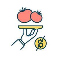 icono de color rgb de alimentos orgánicos. verduras y frutas frescas para los niños durante el proceso de aprendizaje. ingredientes de comidas orgánicas. bocadillos saludables. ilustración vectorial aislada vector