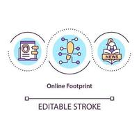 Online footprint concept icon. Trace internet activity. Social media marketing. Digital shadow idea thin line illustration. Vector isolated outline RGB color drawing. Editable stroke