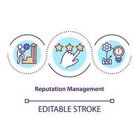 Reputation management concept icon. Public opinion. Building company positive image. Business influence idea thin line illustration. Vector isolated outline RGB color drawing. Editable stroke