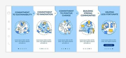 Organizational core values onboarding vector template. Responsive mobile website with icons. Web page walkthrough 5 step screens. Commitment to sustainability color concept with linear illustrations