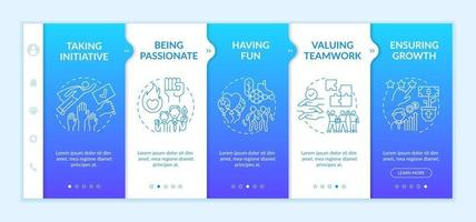 Basic organizational core values onboarding vector template. Responsive mobile website with icons. Web page walkthrough 5 step screens. Valuing teamwork color concept with linear illustrations