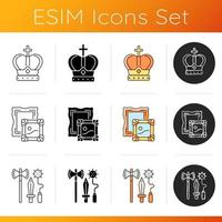 Ancestors heritage icons set. Royal crown. Museum collections. Knight weapons. Coronation ceremony. Paintings. Medieval weaponry. Linear, black and RGB color styles. Isolated vector illustrations