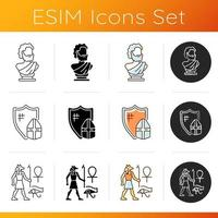 Antiquities excavation icons set. Ancient statue. Knight armor. Egyptian wall drawings. Sculpted bust. Medieval warrior. Linear, black and RGB color styles. Isolated vector illustrations
