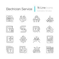 Electrician service linear icons set vector