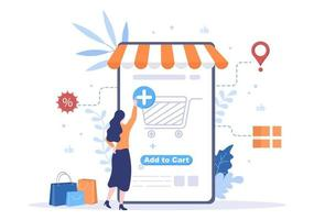 Add To Cart Vector Illustration That Contain List Products, Pictures of Cart and Shopping Items