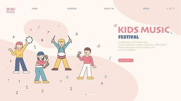 Kids playing musical instruments web template. outline simple vector illustration.