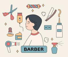personajes de clientes de peluquería y suministros de peluquería. Ilustración de vector mínimo de estilo de diseño plano.