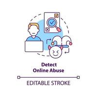 Detecting online abuse concept icon. Cyberbullying prevention step idea thin line illustration. Discovering online abusive behavior. Vector isolated outline RGB color drawing. Editable stroke