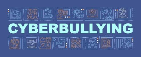 Cyberbullying word concepts banner. Harassing people through Internet. Cyber humiliation. Infographics with linear icons on blue background. Isolated typography. Vector outline RGB color illustration